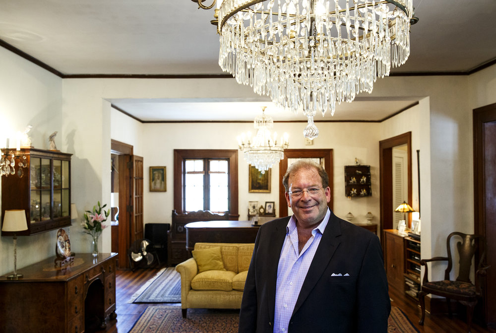 """You don't see this in the Midwest very often. You see it on the East Coast, or they exist way out in mountain country where oil barons lived, "" said Michael Fine, principal and managing partner with Fine & Company LLC, the firm hired to auction the Gillett home in Elkhart. Fine is standing beneath one of three  Baccarat crystal chandeliers that originally hung in the penthouse at the historic Dakota in New York City, considered to be one of ManhattanÕs most prestigious and exclusive residential buildings. Fine was photographed Tuesday, June 6, 2017.[Rich Saal/The State Journal-Register]"