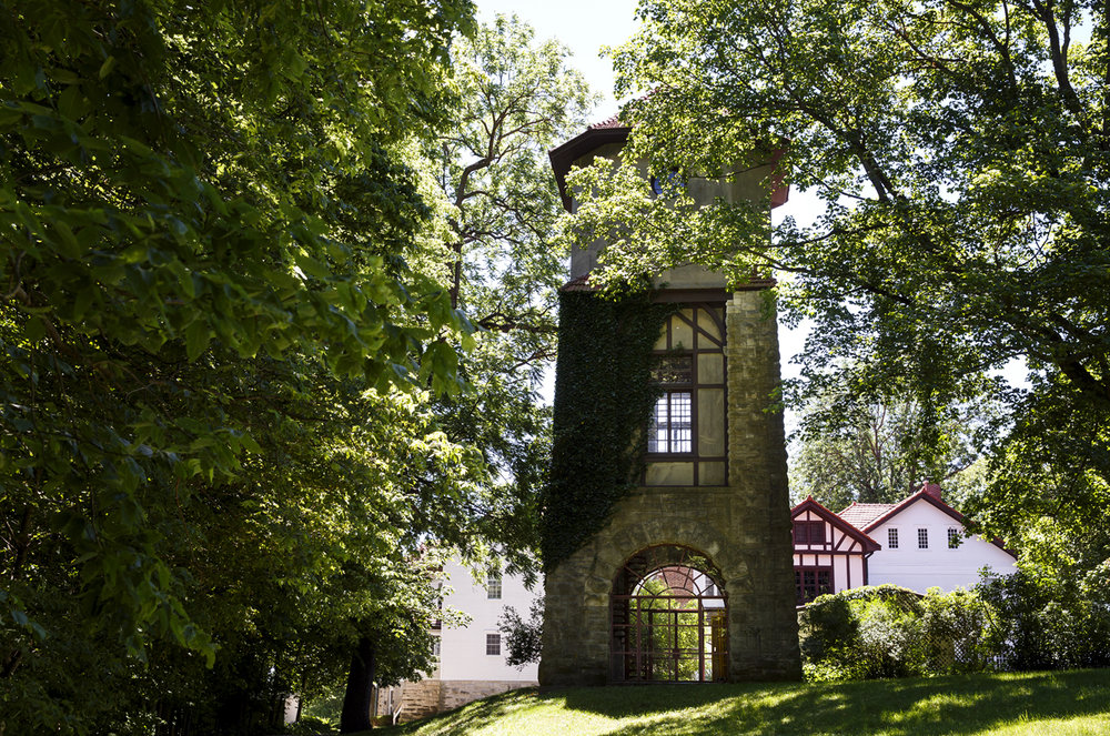 At the Gillett home on Elkhart Hill, a three-story stone structure with a clay tile roof was originally built as a water tower to provide gravity-fed water to the home. The building was converted with an art studio on its second floor and an open space for alfresco dining or gatherings on the ground floor. [Rich Saal/The State Journal-Register]