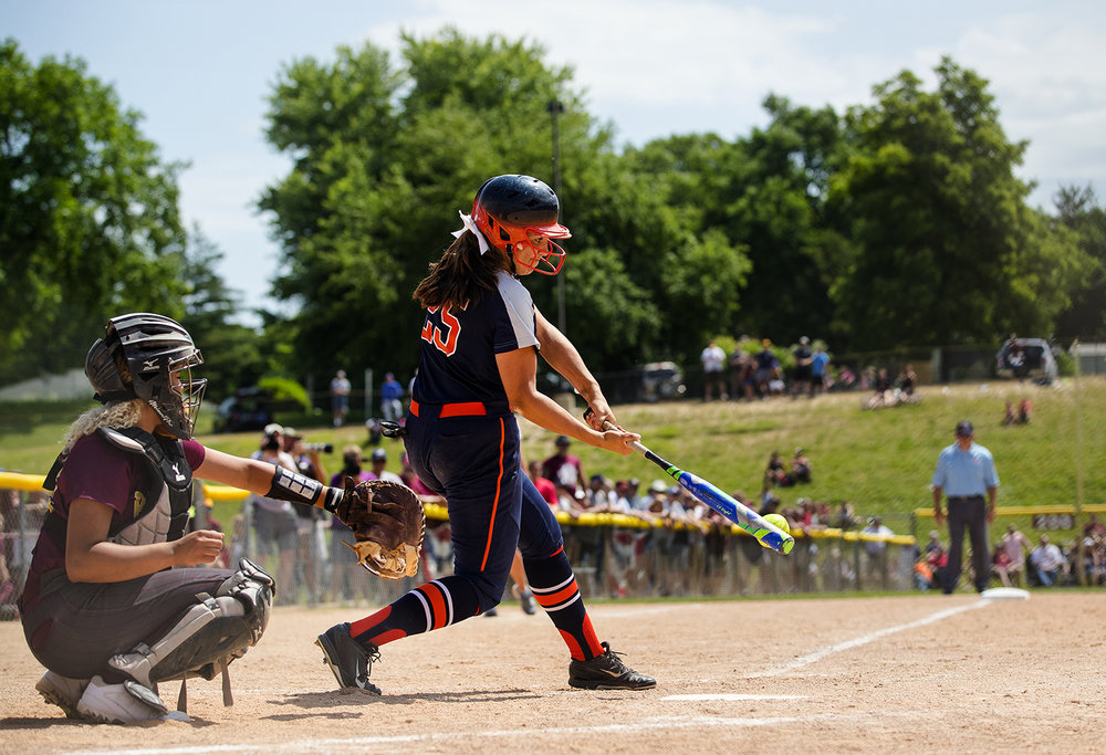 Rochester's Abby Blatz singles out against East Peoria during the Class 3A state semifinal game at the Eastside Centre Friday, June 9, 2017. [Ted Schurter/The State Journal-Register]