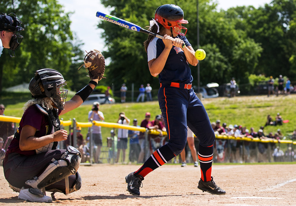 Rochester's Abby Blatz gets hit by an East Peoria pitch during the Class 3A state semifinal game at the Eastside Centre Friday, June 9, 2017. [Ted Schurter/The State Journal-Register]