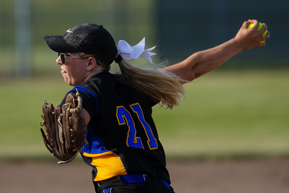 Tri-City's Payton Sturdy winds up to pitch during the 2017 Land of Lincoln Softball Classic Monday, June 12, 2017. [Ted Schurter/The State Journal-Register]