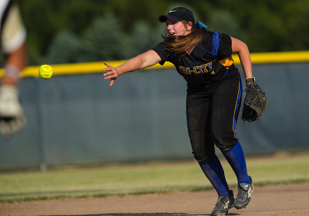 Tri-City's Hailey Patrick flips the ball to the second base to get an out during the 2017 Land of Lincoln Softball Classic Monday, June 12, 2017. [Ted Schurter/The State Journal-Register]