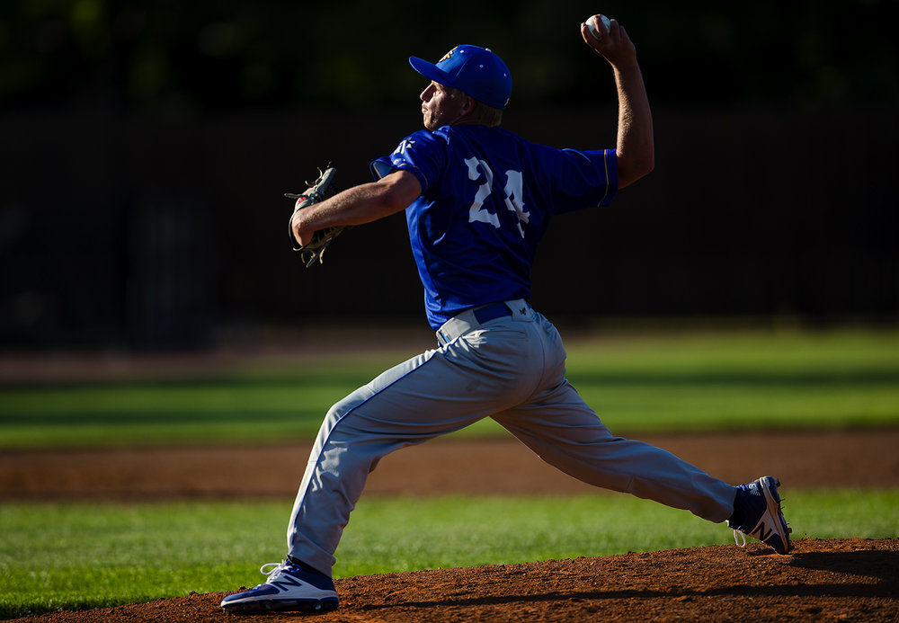Maroa Forsyth's Branden Willoughby winds up to pitch during the Baseball Classic at Claude Kracik Field Tuesday, June 13, 2017.  [Ted Schurter/The State Journal-Register]