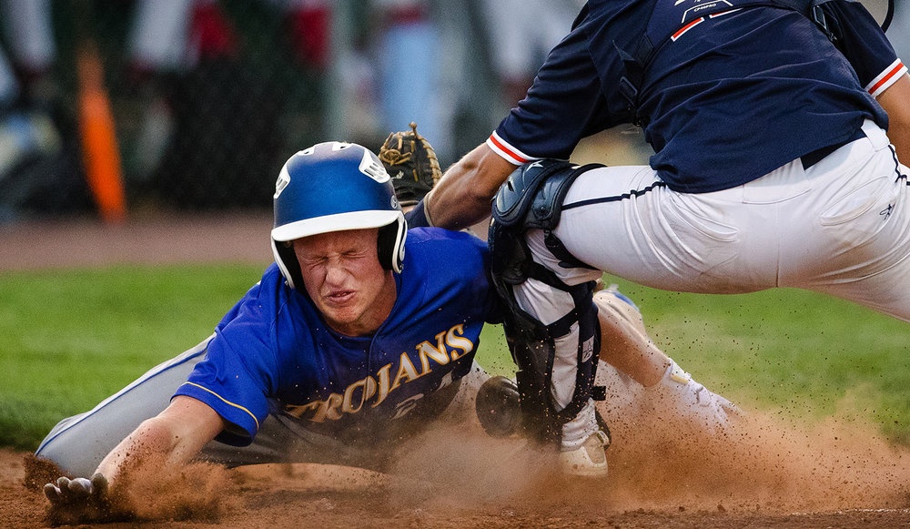Rochester's Ben Chapman tags out Maroa Forsyth's Branden Willoughby and the potentially game-tying run to end the ninth inning during the Baseball Classic at Claude Kracik Field Tuesday, June 13, 2017.  The Central State Eight team beat the All-Area team 6-5. [Ted Schurter/The State Journal-Register]