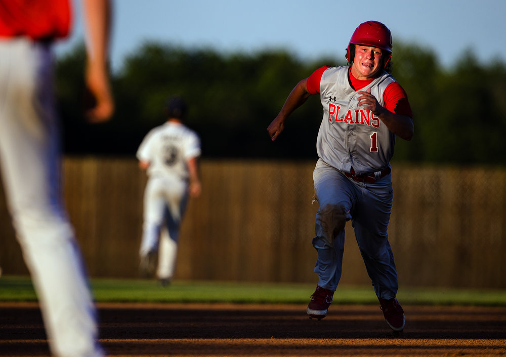 Pleasant Plains' Cole Greer sprints for third base during the Baseball Classic at Claude Kracik Field Tuesday, June 13, 2017.  [Ted Schurter/The State Journal-Register]