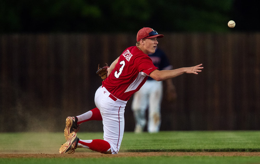 Jacksonville's Avery Dugan flips the ball to second base during the Baseball Classic at Claude Kracik Field Tuesday, June 13, 2017.  [Ted Schurter/The State Journal-Register]