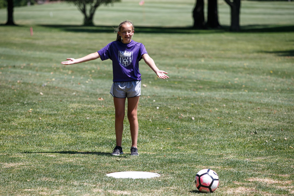 Trista Planck, 11, reacts after her putt rimmed out of the cup on the No. 4 hole during the first day of FootGolf at Bergen Golf Course, Sunday, June 11, 2017, in Springfield, Ill. [Justin L. Fowler/The State Journal-Register]