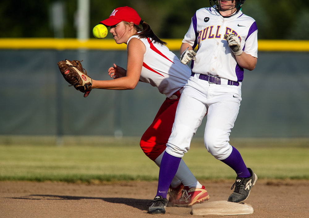 Chatham Glenwood's Sarah Bingenheimer tries to grab a throw that bounced up her mitt at second base during the 2017 Land of Lincoln Softball Classic Monday, June 12, 2017. [Ted Schurter/The State Journal-Register]