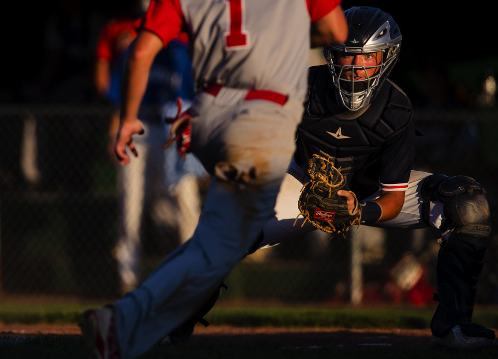 Rochester's Ben Chapman waits at the plate for Pleasant Plains' Cole Greer during the Baseball Classic at Claude Kracik Field Tuesday, June 13, 2017. Chapman made the tag. [Ted Schurter/The State Journal-Register]
