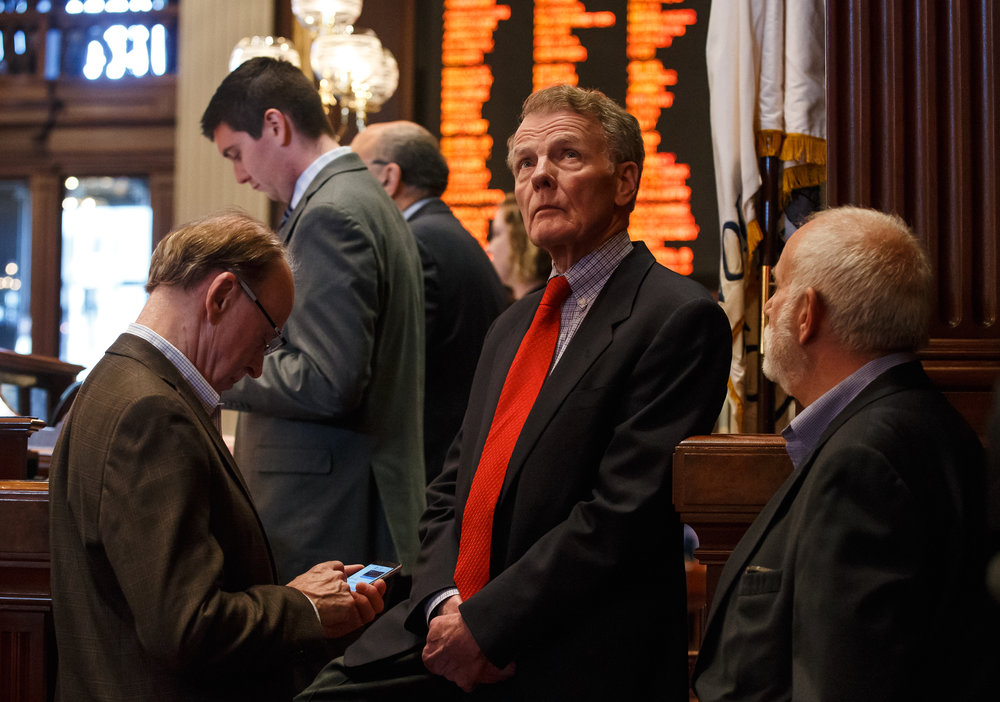 Illinois Speaker of the House Michael Madigan, D-Chicago, looks up towards the video boards in the final debate on Senate Bill 9, a tax hike bill, on the floor of the Illinois House during the overtime session at the Illinois State Capitol, Sunday, July 2, 2017, in Springfield, Ill. [Justin L. Fowler/The State Journal-Register]