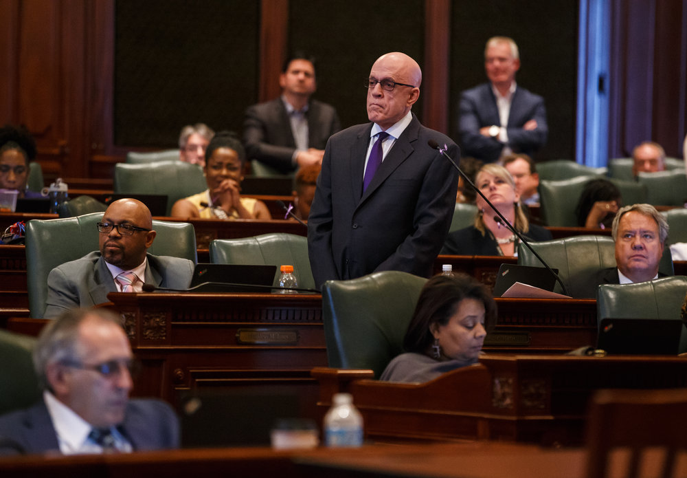 Illinois State Rep. Greg Harris, D-Chicago, listens from comments from the Republican side of the aisle during debate on Senate Bill 9, the tax hike bill, during the overtime session at the Illinois State Capitol, Sunday, July 2, 2017, in Springfield, Ill. [Justin L. Fowler/The State Journal-Register]