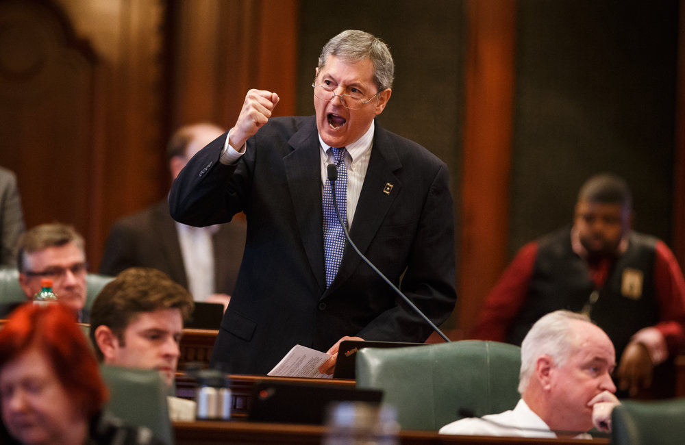 "Illinois State Rep. David Harris, R-Arlington Heights, screams out ""I was not elected to preside over the financial destruction of Illinois""  as he asks for a yes vote during his remarks on Senate Bill 9, a tax hike bill, on the floor of the Illinois House during the overtime session at the Illinois State Capitol, Sunday, July 2, 2017, in Springfield, Ill. [Justin L. Fowler/The State Journal-Register]"