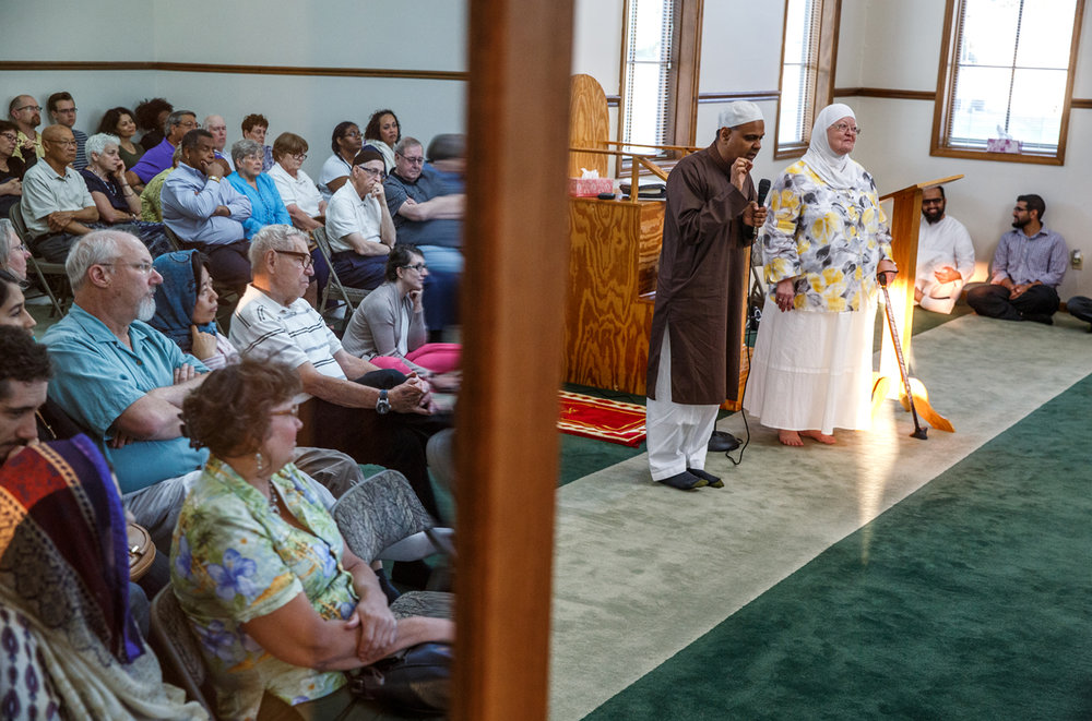 Dr. Ali Nizamuddin, an Associate Professor of Political Science at the University of Illinois Springfield, and Maryam Mostoufi, president of the Greater Springfield Interfaith Association, answer questions about the Muslim holy month of fasting, known as Ramadan, during an open house at the Islamic Society of Greater Springfield mosque, Sunday, June 18, 2017, in Springfield, Ill. [Justin L. Fowler/The State Journal-Register]