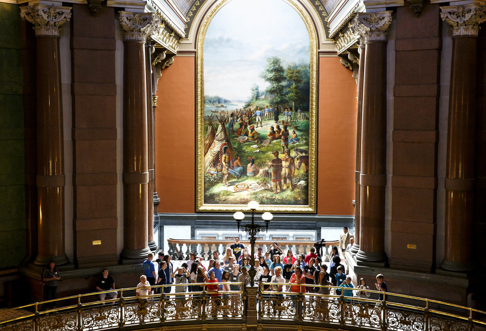 A group tours the Capitol May 31, 2017 under Gustav A. Fuchs painting of George Rogers Clark negotiating with Native Americans. [File/Rich Saal/The State Journal-Register]
