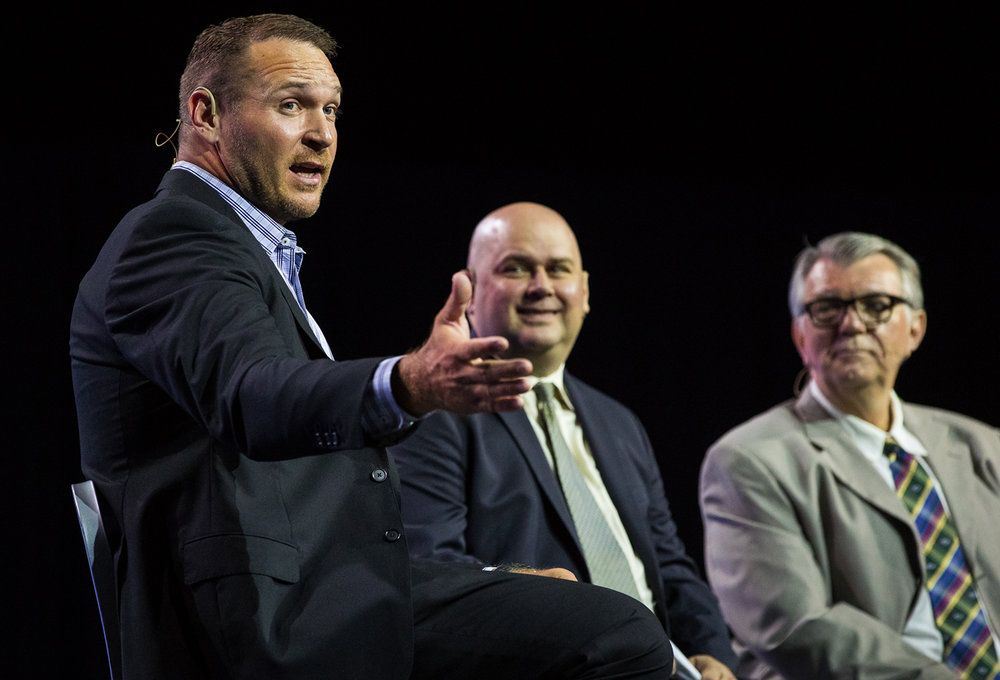 Former Chicago Bear linebacker Brian Urlacher answers questions with the State Journal-Register sports editor Todd Adams and former State Journal-Register sports editor Jim Ruppert during The State Journal-Register's inaugural Best of Capital Region Preps awards banquet at the Bank of Springfield Center Tuesday, June 27, 2017.  Ted Schurter/The State Journal-Register