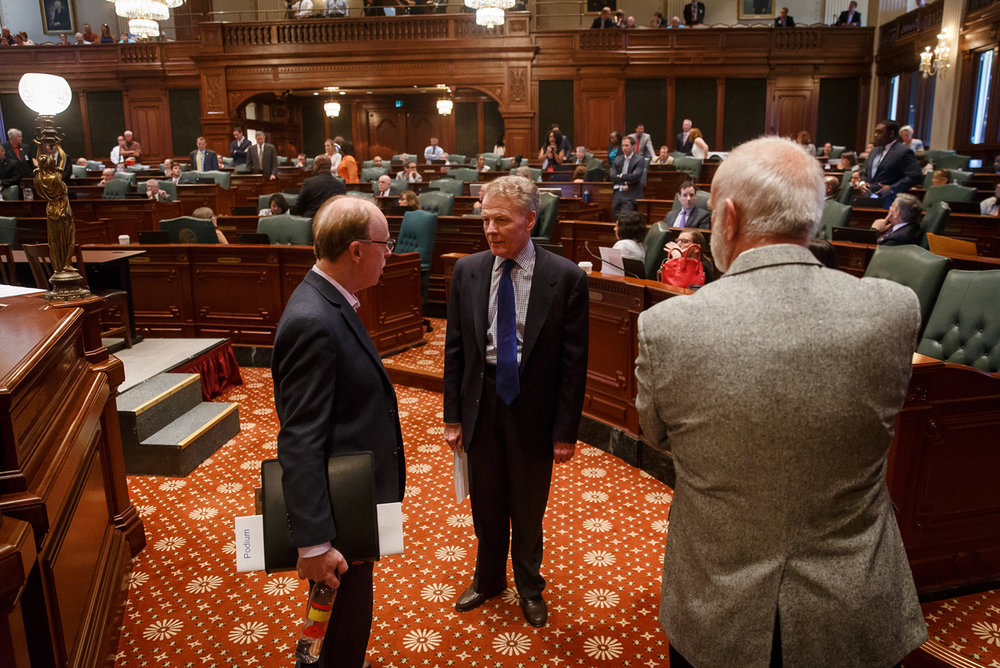 Illinois Speaker of the House Michael Madigan, D-Chicago, walks off the Illinois House floor after saying that the House would be in session on Sunday, but he didn't expect any bills to be voted on, during the overtime session at the Illinois State Capitol, Saturday, July 1, 2017, in Springfield, Ill. [Justin L. Fowler/The State Journal-Register]