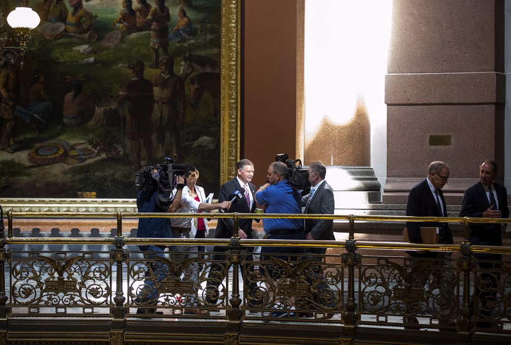 Senate Minority Leader Bill Brady, R-Bloomington, is followed by reporters as he walks to the Senate chamber for the start of a special session Tuesday, July 4, 2017 at the Capitol in Springfield, Ill. [Rich Saal/The State Journal-Register]