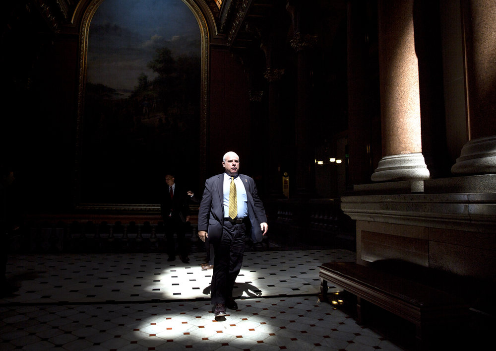 Sen. Sam McCann, R-Plainview, walks to the Senate chamber for the start of a special session Tuesday, July 4, 2017 at the Capitol in Springfield, Ill. [Rich Saal/The State Journal-Register]