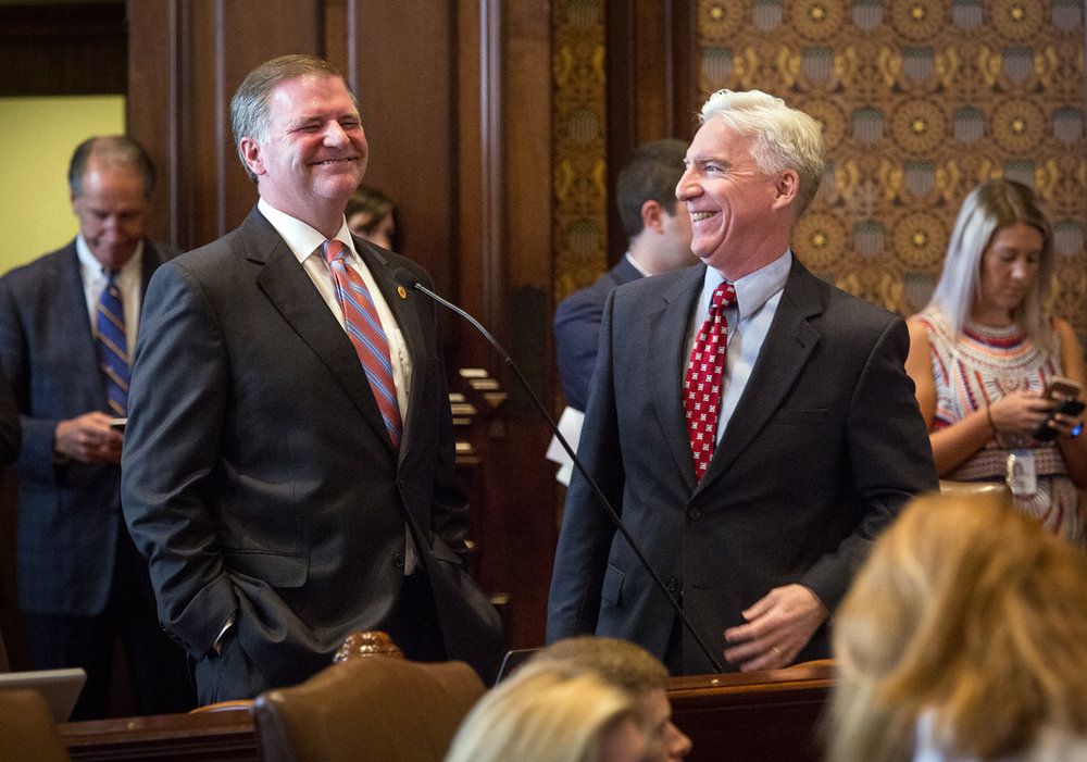 Senate Minority Leader Bill Brady, R-Bloomington, left, and Sen. Michael Connelly, R-Naperville, are caught in a light moment on the Senate Floor Tuesday, July 4, 2017 at the Capitol in Springfield, Ill. [Rich Saal/The State Journal-Register]