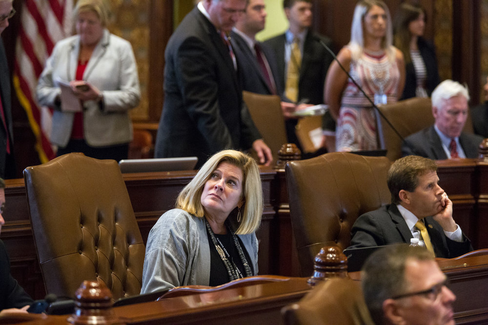 Sen. Karen McConnaughay, R-West Dundee, watches vote totals as the Senate votes to override Gov. Bruce Rauner's veto of budget bills passed earlier in the morning Tuesday, July 4, 2017 at the Capitol in Springfield, Ill. [Rich Saal/The State Journal-Register]