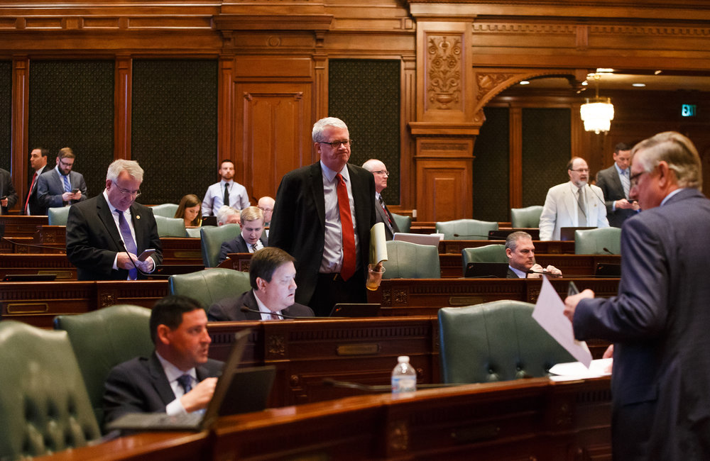 Illinois House Minority Leader Jim Durkin, R-Western Springs, walks off the floor of the Illinois House after the House voted to override Gov. Rauner's veto and pass a budget for the first time in two years during the overtime session at the Illinois State Capitol, Thursday, July 6, 2017, in Springfield, Ill. [Justin L. Fowler/The State Journal-Register]