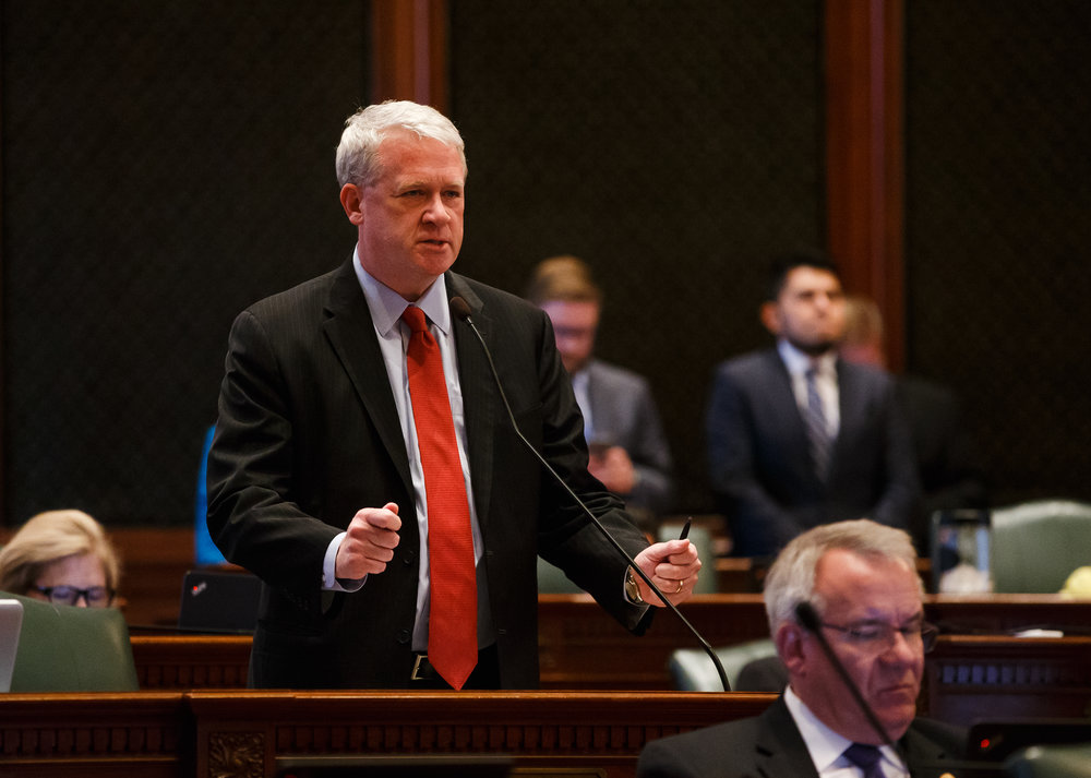 Illinois House Minority Leader Jim Durkin, R-Western Springs, gives his remarks during the debate to override Gov. Rauner's veto of the budget bills on the floor of the Illinois House during the overtime session at the Illinois State Capitol, Thursday, July 6, 2017, in Springfield, Ill. [Justin L. Fowler/The State Journal-Register]