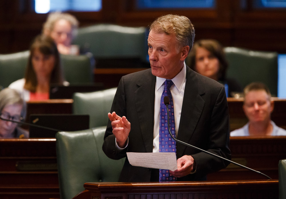 "Illinois Speaker of the House Michael Madigan, D-Chicago, gives a speech following the Illinois House voting to override Gov. Rauner's veto and pass a budget for the first time in two years during the overtime session at the Illinois State Capitol, Thursday, July 6, 2017, in Springfield, Ill. ""The people in this chamber did not do what was easy today. But we did what was right for the future of our state,"" said Madigan. ""Today, Republicans and Democrats stood together to enact a bipartisan balanced budget and end a destructive 736-day impasse."" [Justin L. Fowler/The State Journal-Register]"
