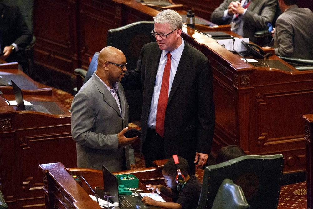 Rep. William Davis, D-East Hazel Crest, left, and House Minority Leader Jim Durkin, R-Westen Springs, talk on the House floor before the start of a special session at the Capitol Thursday, July 6, 2017. [Rich Saal/The State Journal-Register]
