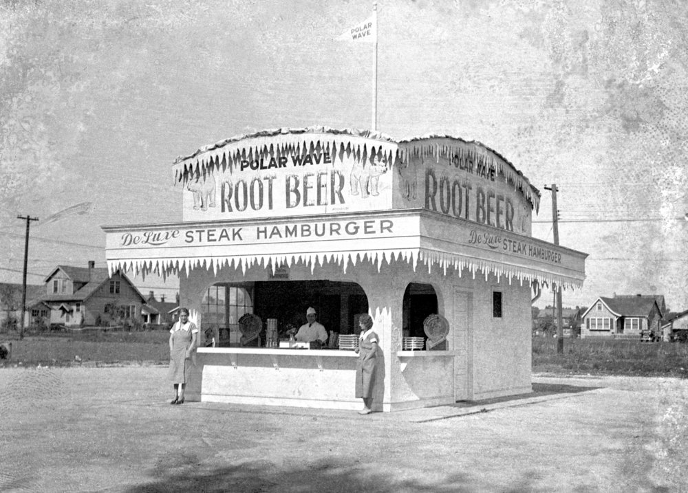 Polar Wave root beer and sandwich stand, 2008 West Grand Avenue South (now MacArthur Boulevard), May 1934. Illinois State Journal glass plate negative/Sangamon Valley Collection at Lincoln Library. All Rights Reserved, The State Journal-Register.  C-98-275  VF 2007-276  (article but not photograph, published ISJ May 4, 1934)