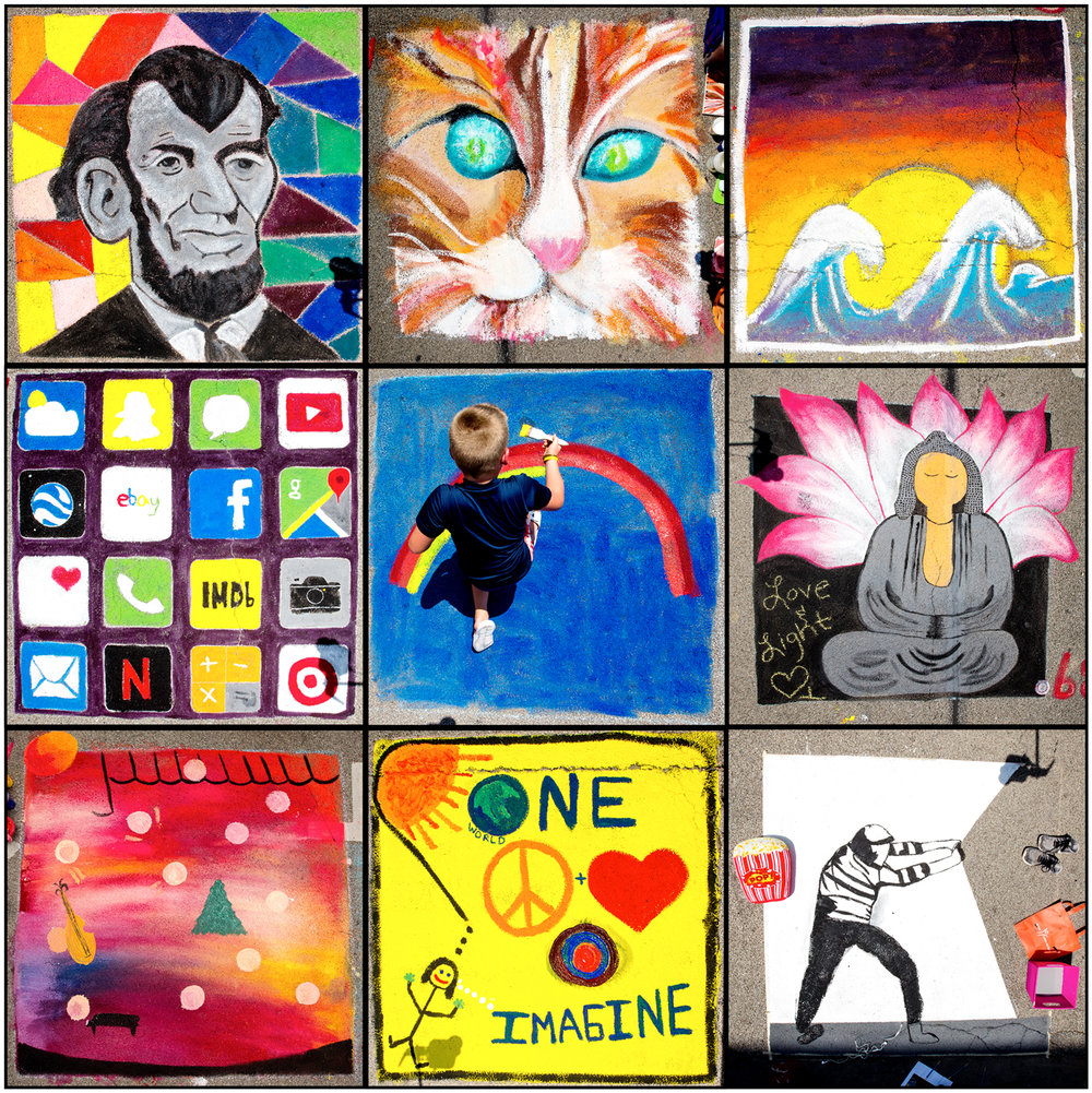 "A collage of Paint the Street creations from Sunday, July 23, 2017. From top left ""Lincoln's Emotions"" by Emily Martiens. ""Atomic Cat"" by Barb Bonansinga. ""Sunset Waves"" by Genevieve Smalley and Olivia Moore. ""Family Phone"" by P.J., Eric, Tucker, Reid and Spencer Loy. ""Rainbow"" by Benjamin Watts. ""Buddha and Lotus"" by Jennifer Lieswald. Unfinished ""Variety of fun"" by Robby Drell. ""Imagine One World of Peace and Love"" by Kathryn Dauksza and Sheri Vaughan. Unfinished ""Boredom"" by Nolan Johnson. [Ted Schurter/The State Journal-Register]"
