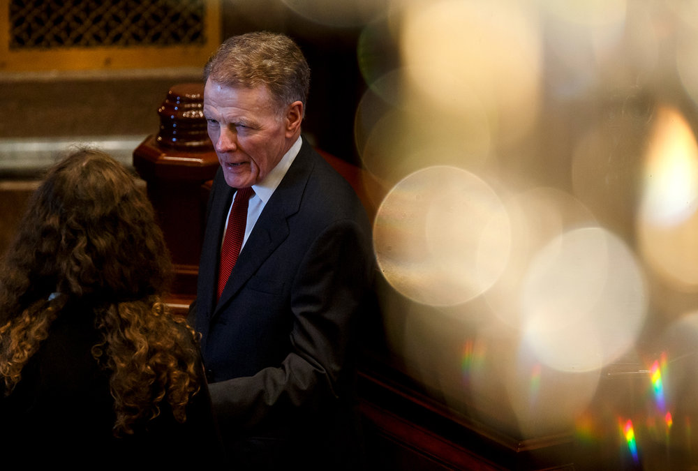 Illinois Speaker of the House Michael Madigan, D-Chicago, on the floor of the Illinois House after they came to order and quickly adjourned during the second day of a special session on education funding at the Illinois State Capitol, Thursday, July 27, 2017, in Springfield, Ill. [Justin L. Fowler/The State Journal-Register]