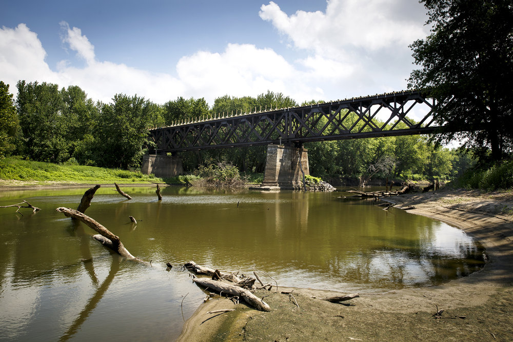 The former Chicago & Northwestern Railroad bridge over the Sangamon River is being converted to carry the Sangamon Valley Trail bike path. A second bridge to the north will cross Cantrall Creek. [Rich Saal/The State Journal-Register]