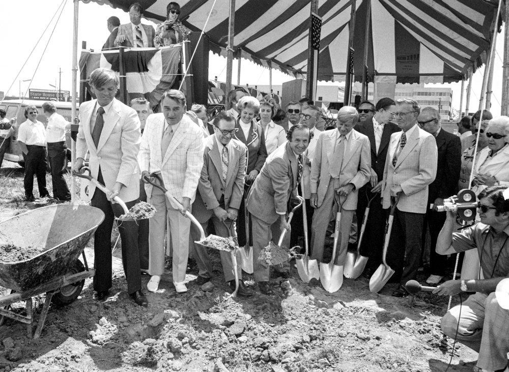 Groundbreaking for the Prairie Capital Convention Center (PCCC), August 7, 1975. Governor Dan Walker, Mayor William 'Bill' Telford. 