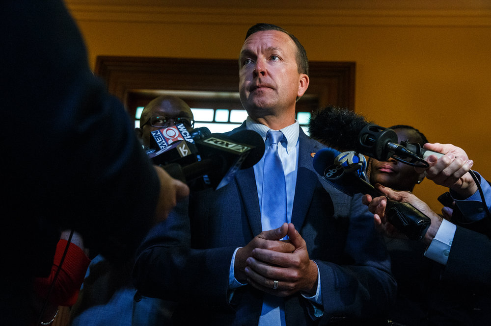 Illinois State Sen. Andy Manar, D-Bunker Hill, talks to the media as negotiations continue on Senate Bill 1 during a special session on education funding at the Illinois State Capitol, Monday, July 31, 2017, in Springfield, Ill. [Justin L. Fowler/The State Journal-Register]