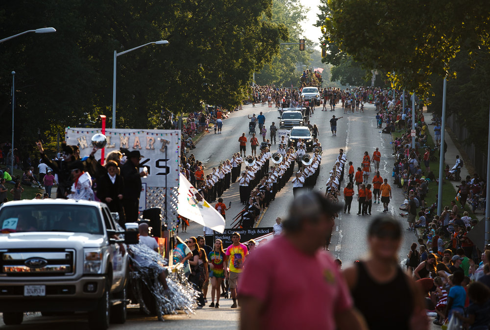 Normal Community High School Marching Band heads down Sangamon Avenue along the new route for the Illinois State Fair Twilight Parade, Thursday, Aug. 10, 2017, in Springfield, Ill. [Justin L. Fowler/The State Journal-Register]
