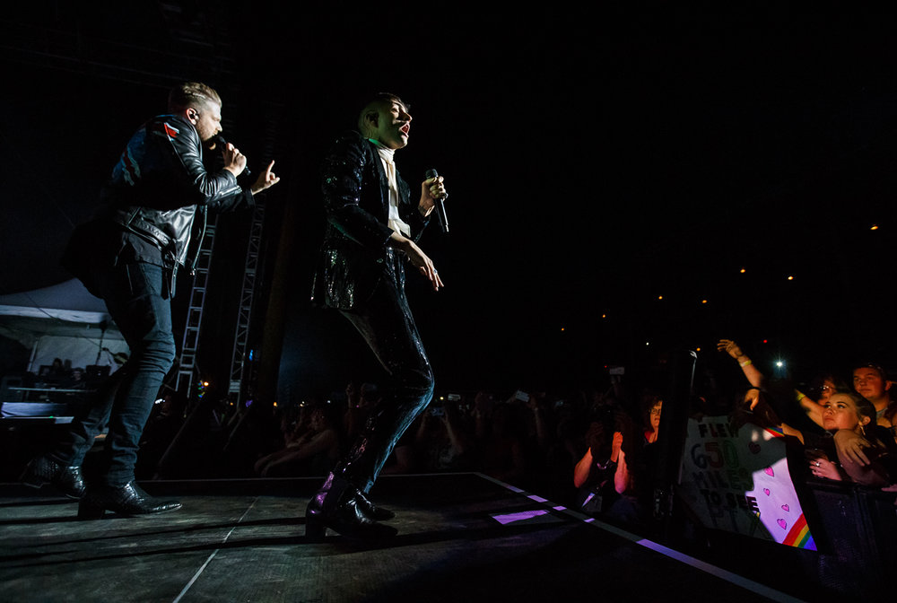 Singers Scott Hoying, left, and Mitch Grassi, right, of Pentatonix perform with the group on the Grandstand stage at the Illinois State Fairgrounds, Saturday, Aug. 12, 2017, in Springfield, Ill. [Justin L. Fowler/The State Journal-Register]