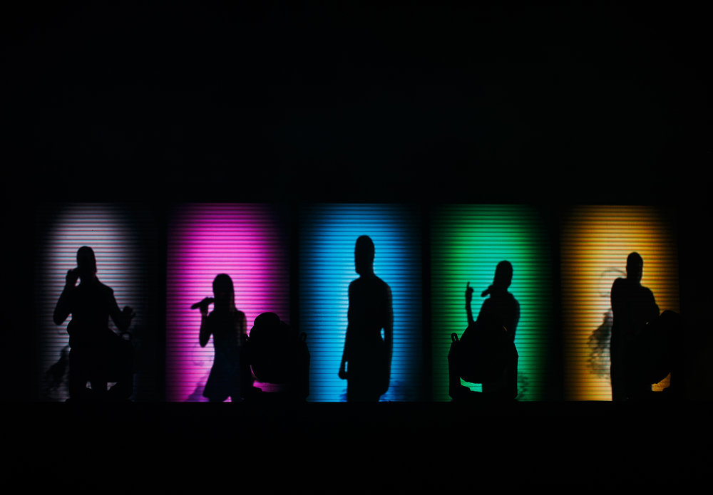 A digital screen projection of the group Pentatonix appears as they prepare to take the Grandstand stage at the Illinois State Fairgrounds, Saturday, Aug. 12, 2017, in Springfield, Ill. [Justin L. Fowler/The State Journal-Register]