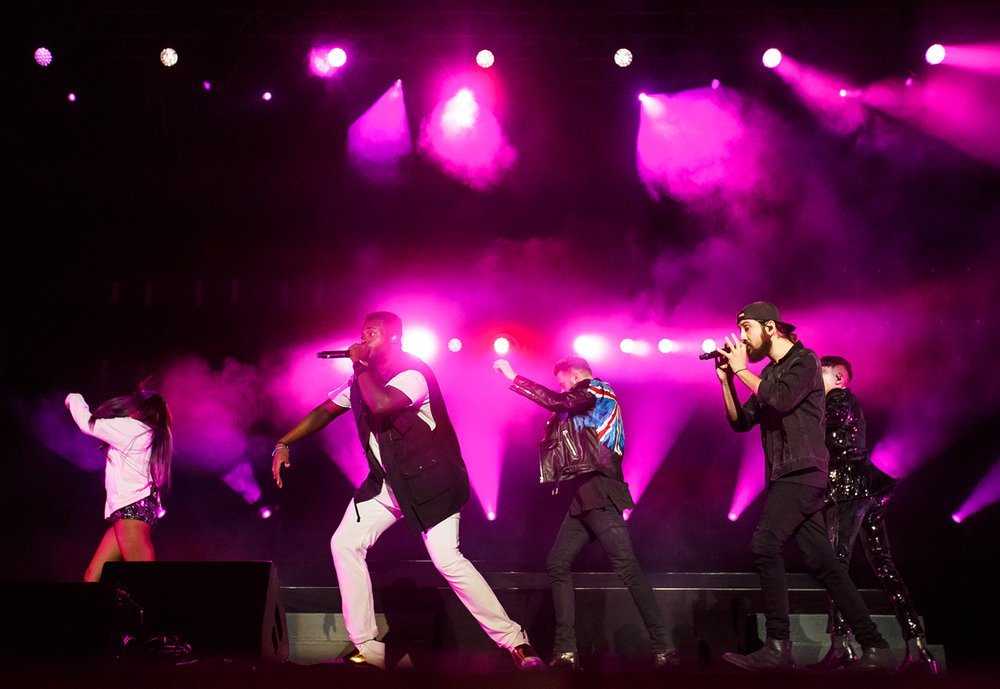 Singers Kirstin Maldonado, Kevin Olusola, Scott Hoying, Avi Kaplan and Mitch Grassi of Pentatonix perform on the Grandstand stage at the Illinois State Fairgrounds, Saturday, Aug. 12, 2017, in Springfield, Ill. [Justin L. Fowler/The State Journal-Register]