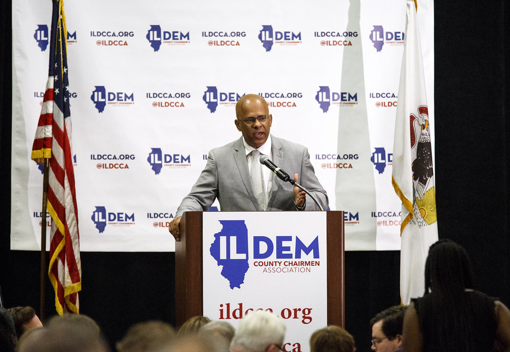 Tio Hardiman, a candidate for governor, speaks at the Illinois Democratic County Chairmen's Association 2017 Annual Chairmen's Brunch Thursday Aug. 16, 2017 at the Crowne Plaza in Springfield, Ill. [Rich Saal/The State Journal-Register]