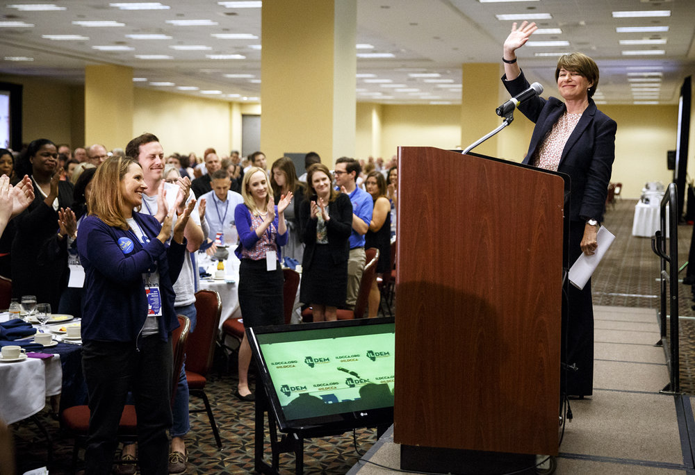 U.S. Senator Amy Klobuchar, D- Minnesota, thanks the crowd after delivering the keynote address at the Illinois Democratic County Chairmen's Association 2017 Annual Chairmen's Brunch Thursday Aug. 16, 2017 at the Crowne Plaza in Springfield, Ill. [Rich Saal/The State Journal-Register]