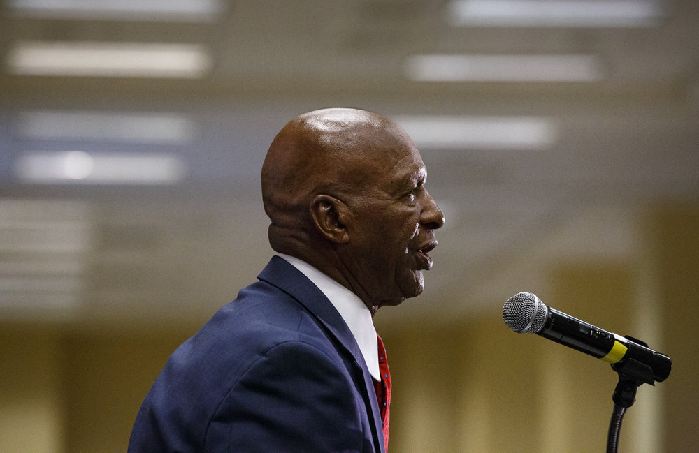 Illinois Secretary of State Jesse White announced that he would seek re-election to his sixth term in 2018, during the Illinois Democratic County Chairmen's Association 2017 Annual Chairmen's Brunch Thursday Aug. 16, 2017 at the Crowne Plaza in Springfield, Ill. [Rich Saal/The State Journal-Register]