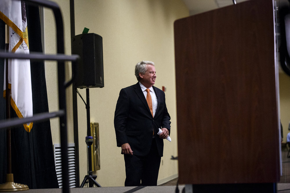 Democratic candidate for governor Chris Kennedy prepares to speak at the Illinois Democratic County Chairmen's Association 2017 Annual Chairmen's Brunch Thursday Aug. 16, 2017 at the Crowne Plaza in Springfield, Ill. [Rich Saal/The State Journal-Register]
