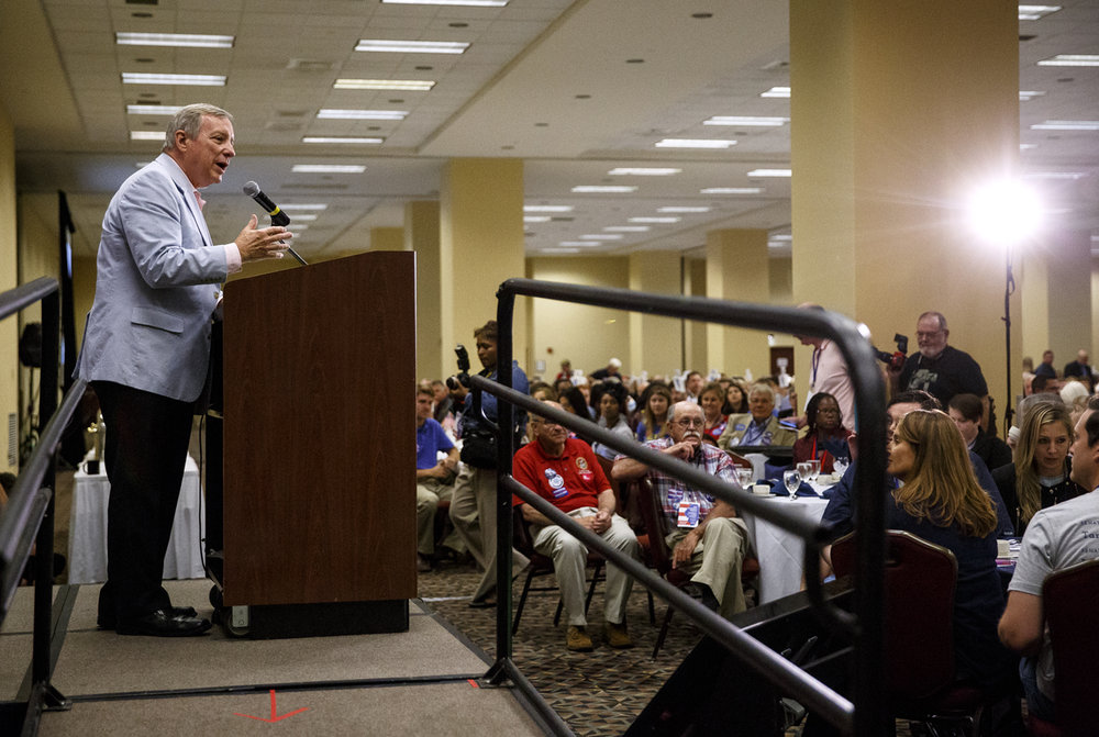 U. S. Democratic Senator Dick Durbin addresses the Illinois Democratic County Chairmen's Association 2017 Annual Chairmen's Brunch Thursday Aug. 16, 2017 at the Crowne Plaza in Springfield, Ill. [Rich Saal/The State Journal-Register]
