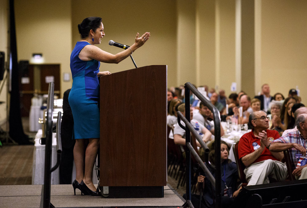 Illinois Comptroller Susanna Mendoza addresses the Illinois Democratic County Chairmen's Association 2017 Annual Chairmen's Brunch Thursday Aug. 16, 2017 at the Crowne Plaza in Springfield, Ill. [Rich Saal/The State Journal-Register]