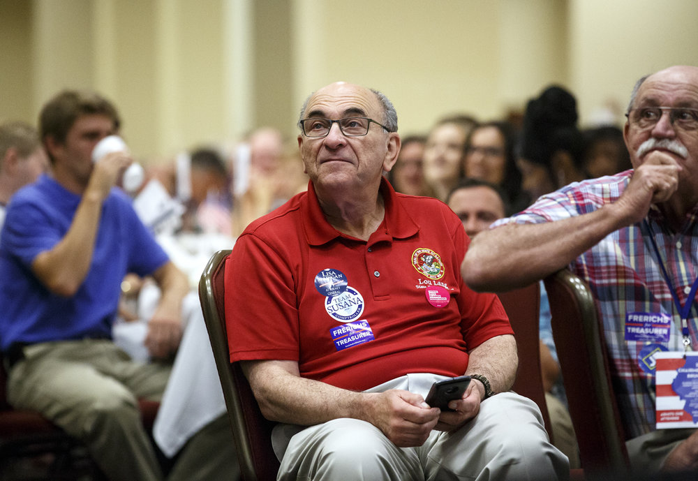 Rep. Lou Lang, D-Skokie, listens to speakers at the Illinois Democratic County Chairmen's Association 2017 Annual Chairmen's Brunch Thursday Aug. 16, 2017 at the Crowne Plaza in Springfield, Ill. [Rich Saal/The State Journal-Register]