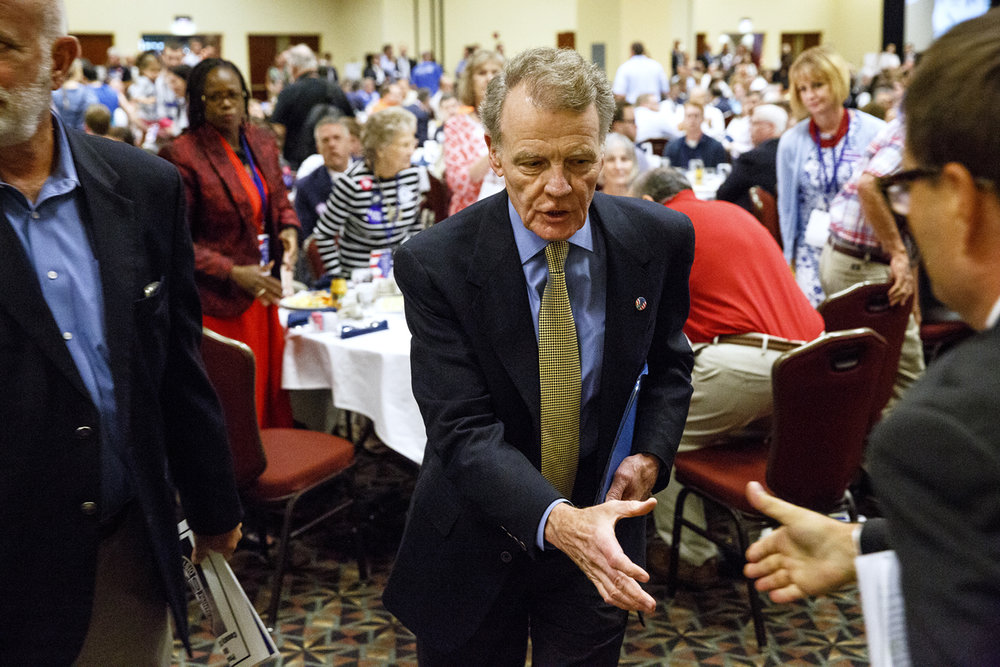 Illinois House Speaker Michael Madigan, D-Chicago, leaves the Illinois Democratic County Chairmen's Association 2017 Annual Chairmen's Brunch after making opening remarks Thursday Aug. 16, 2017 at the Crowne Plaza in Springfield, Ill. (Rich Saal/The State Journal-Register)