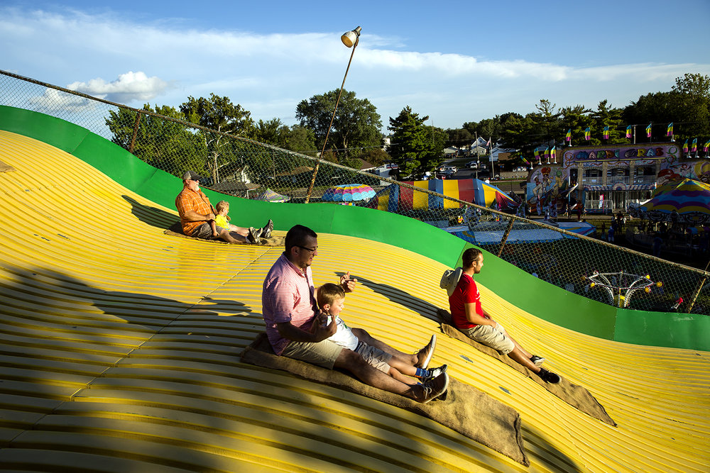 There's only one way down the Giant Slide at the Illinois State Fair Thursday, Aug. 17, 2017. [Rich Saal/The State Journal-Register]