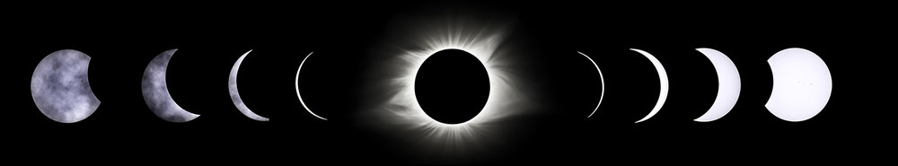 A composite image shows the stages of the total solar eclipse from partial to total solar eclipse Monday, Aug. 21, 2017. [Ted Schurter/The State Journal-Register]