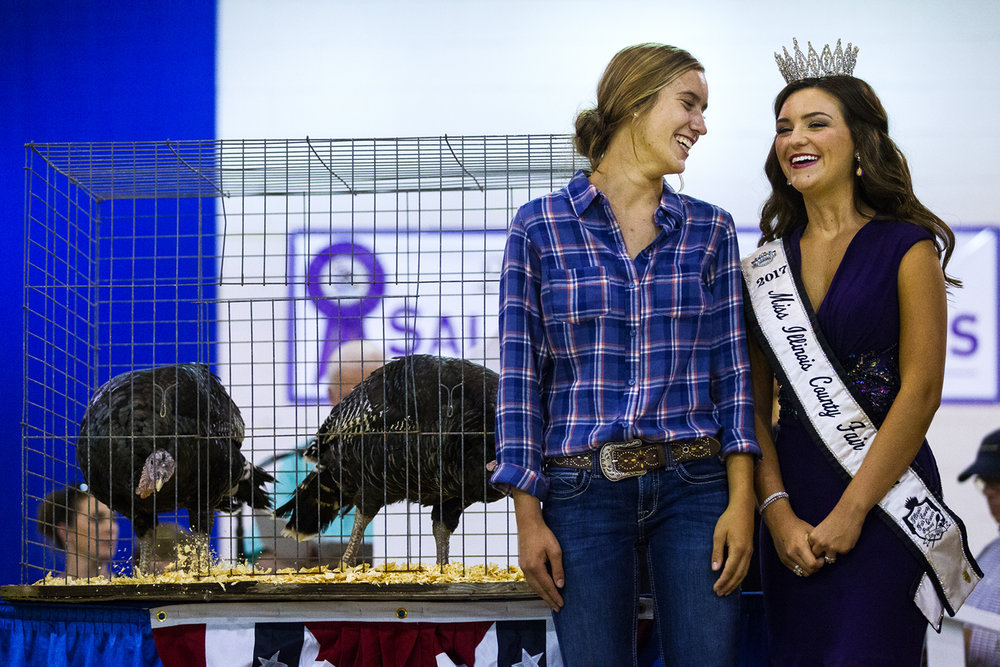Carrie Gill of Princeville, Ill., laughs with 2017 Miss Illinois County  Fair Claudia VanOpdorp as her Grand Champion Poultry Market Pen is auctioned off during the 2017 Governor's Sale of Champions at the Illinois State Fair Tuesday, Aug. 15, 2017. Gill's broad breasted bronze trio were the first turkeys to win the award. [Ted Schurter/The State Journal-Register]