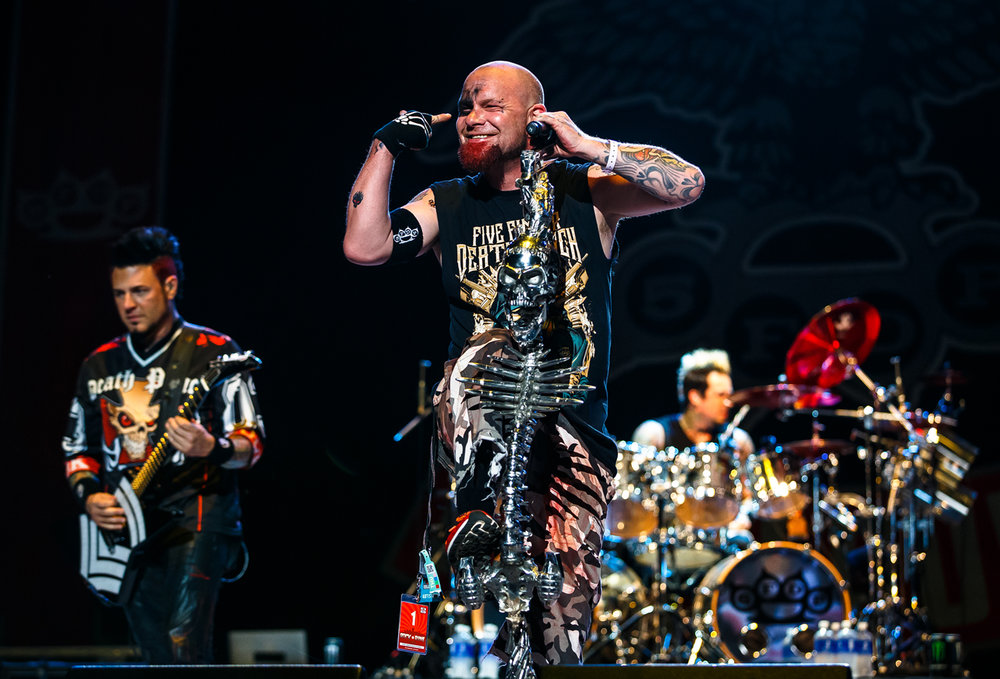 Lead singer Ivan Moody of Five Finger Death Punch performs with the band on the Grandstand Stage at the Illinois State Fairgrounds, Saturday, Aug. 19, 2017, in Springfield, Ill. [Justin L. Fowler/The State Journal-Register]